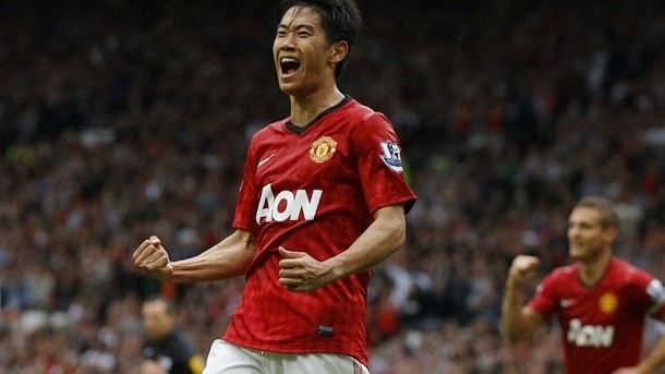 Manchester United's Kagawa celebrates his goal against Fulham during their English Premier League soccer match in Manchester
