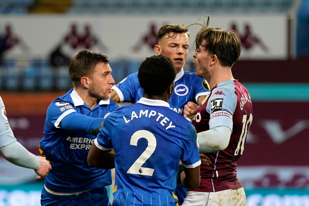 Brighton holds on, beats Aston Villa after tempestuous ending